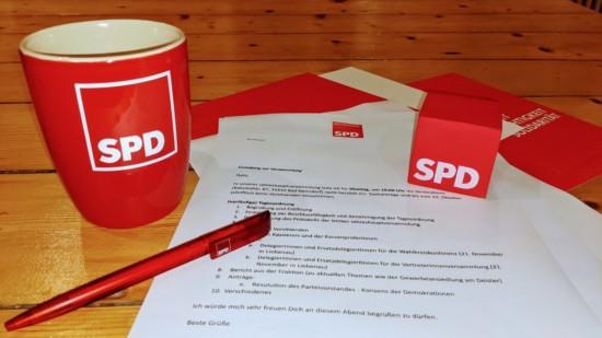 Versammlung mit SPD Würfel