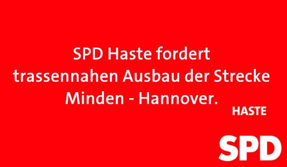 Foto: SPD Haste fordert trassennahen Ausbau der Strecker Minden - Hannover.